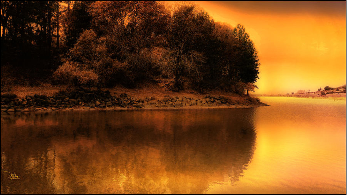 Autumn Sunset at the Lake - Original Fine Art Prints by Douglas MooreZart