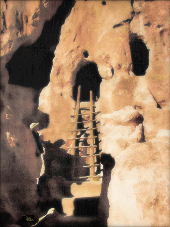 Bandelier Ladder and Kiva - Original Fine Art Prints - Douglas MooreZart - copyright 2015