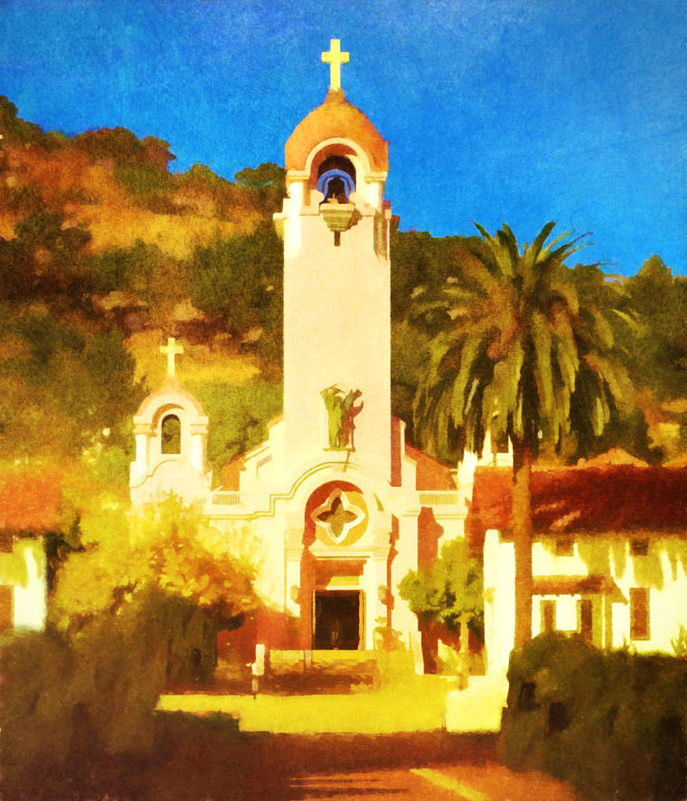 Mission San Rafael Arcangel, mixed media, c 2017, all rights reserved, D. Moorezart