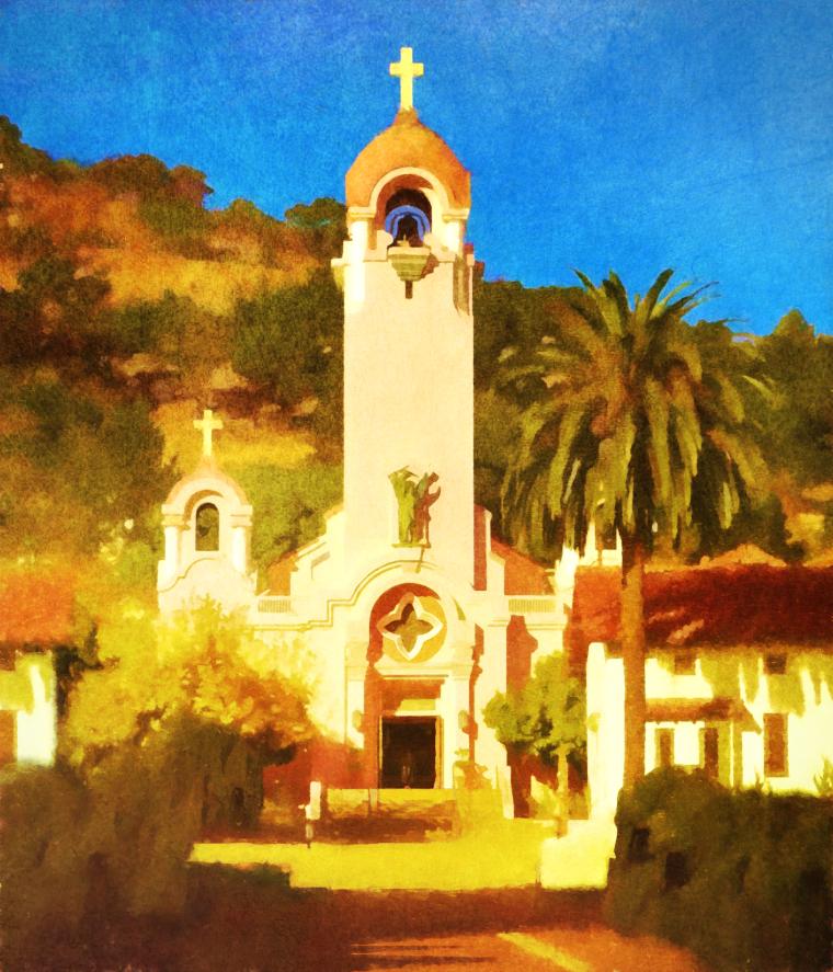 Mission San Rafael Arcangel, mixed media, c 2017, all rights reserved, D. Moorezart